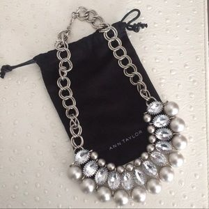 Gray Pearl & Crystal Statement Necklace